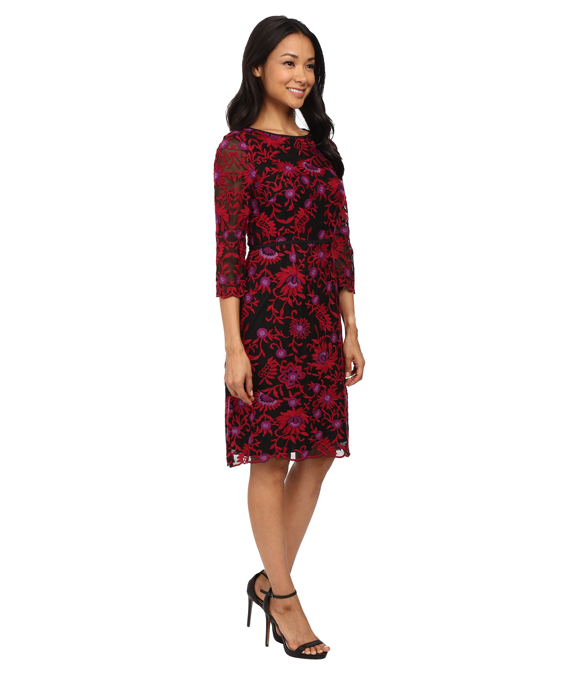 Lyst Adrianna Papell Three Quarter Sleeve Fit Amp Flare