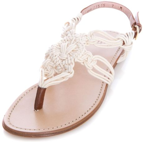 Stuart Weitzman Alfresco Rope Sandals In White Cream Lyst