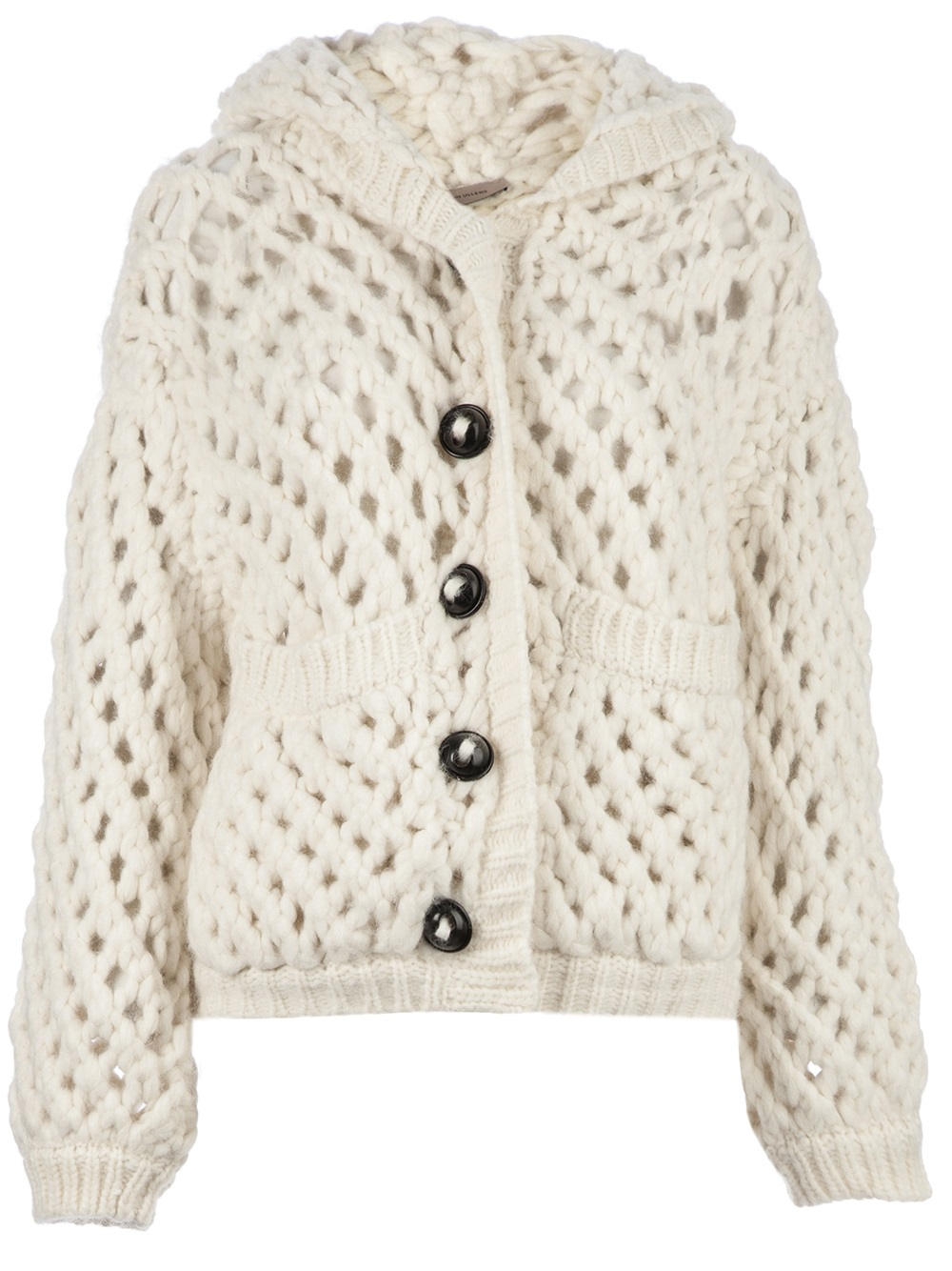 Maison ullens Chunky Knit Cardigan in White | Lyst