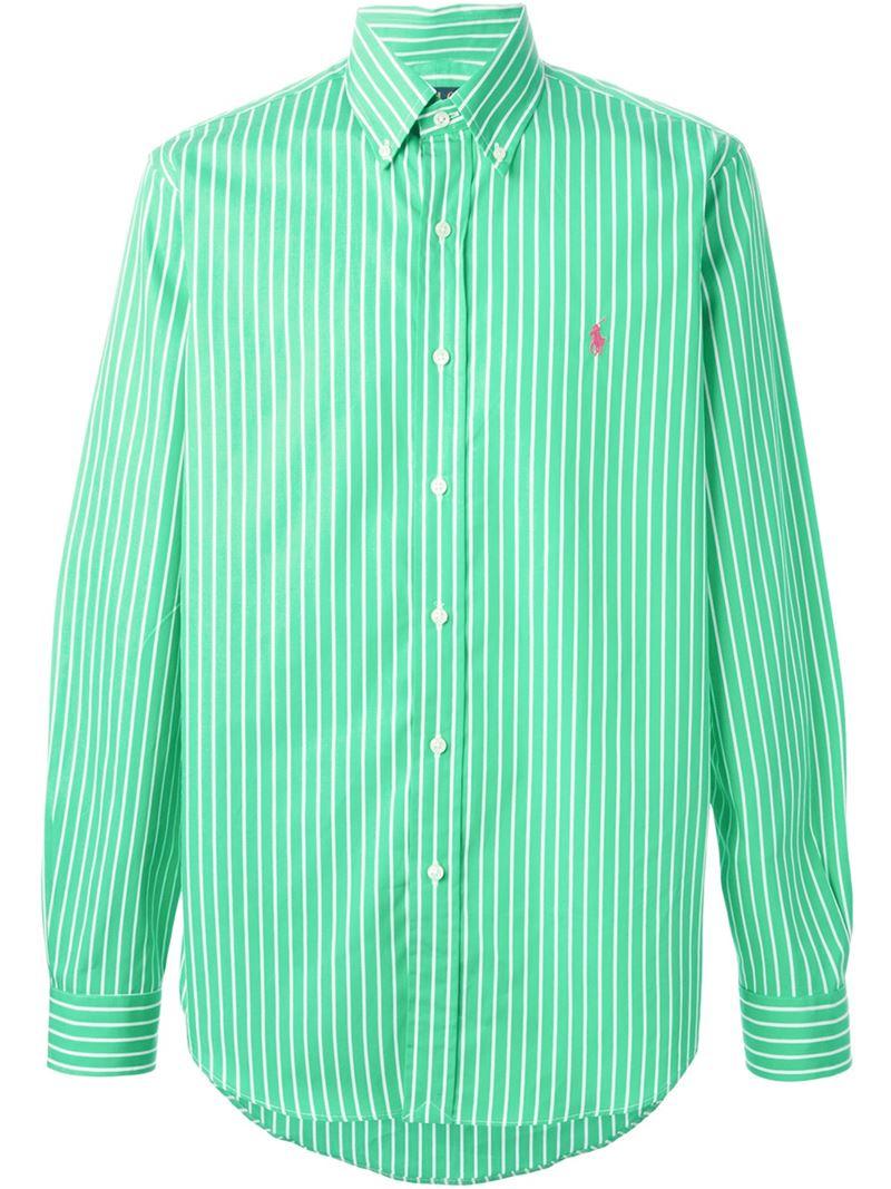 Polo ralph lauren Striped Button Down Shirt in Green for Men | Lyst