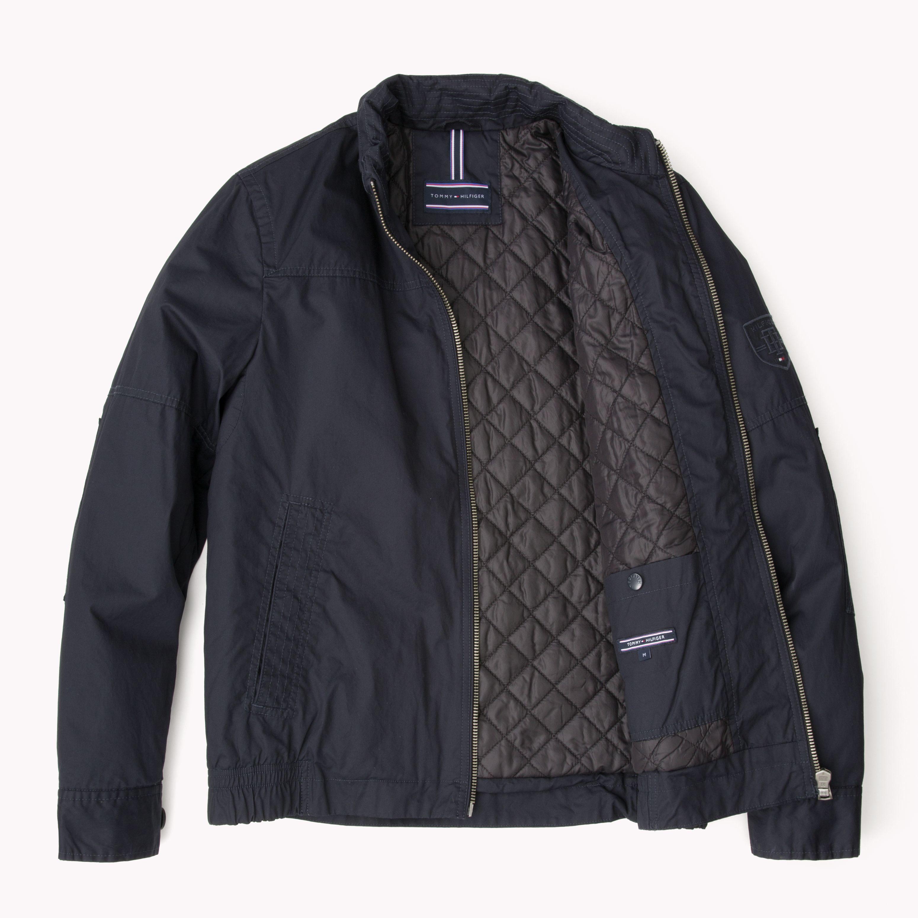tommy hilfiger adel casual full zip bomber jacket in blue. Black Bedroom Furniture Sets. Home Design Ideas