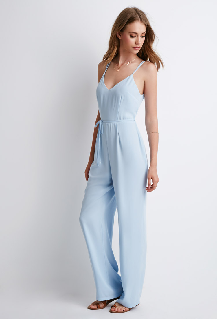 38c08516c3fd Forever 21 Strappy V-back Jumpsuit in Blue - Lyst