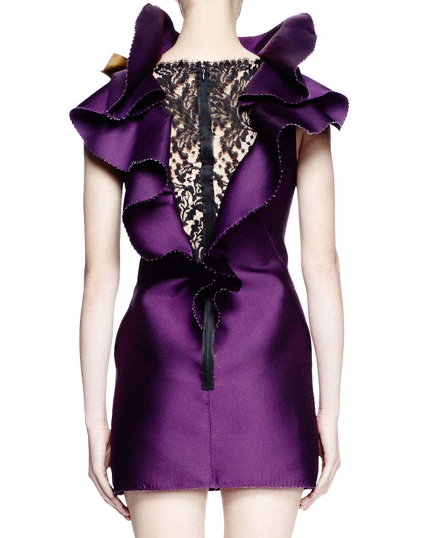 Lanvin Sleeveless Ruffle-neck Mini Dress in Purple | Lyst