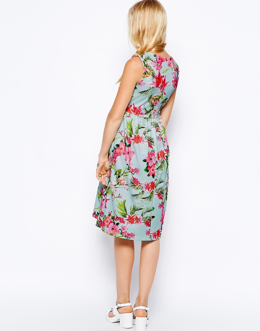 410f36e291f ASOS Maternity Scuba Skater Dress In Bright Peonie Print - Lyst