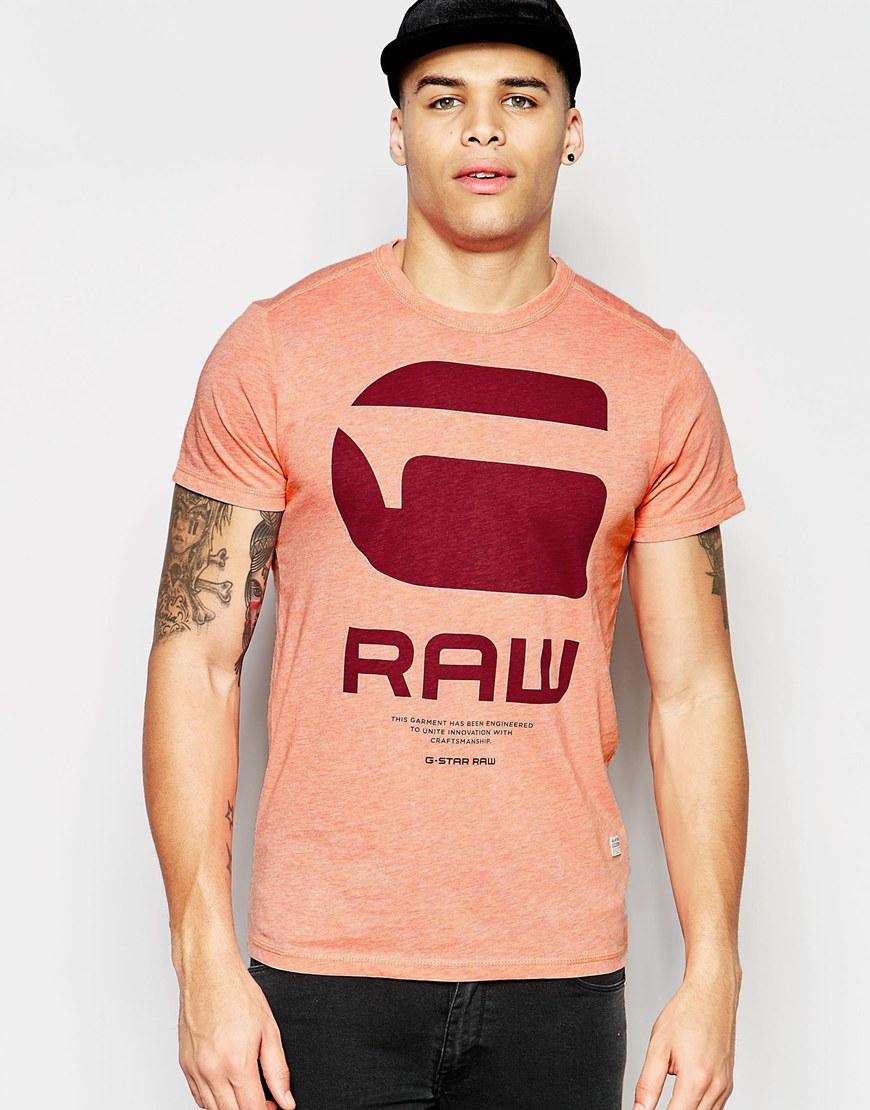 58acda01262 Lyst - G-Star RAW T-shirt Resap Crewneck G Raw Logo Print In Red ...