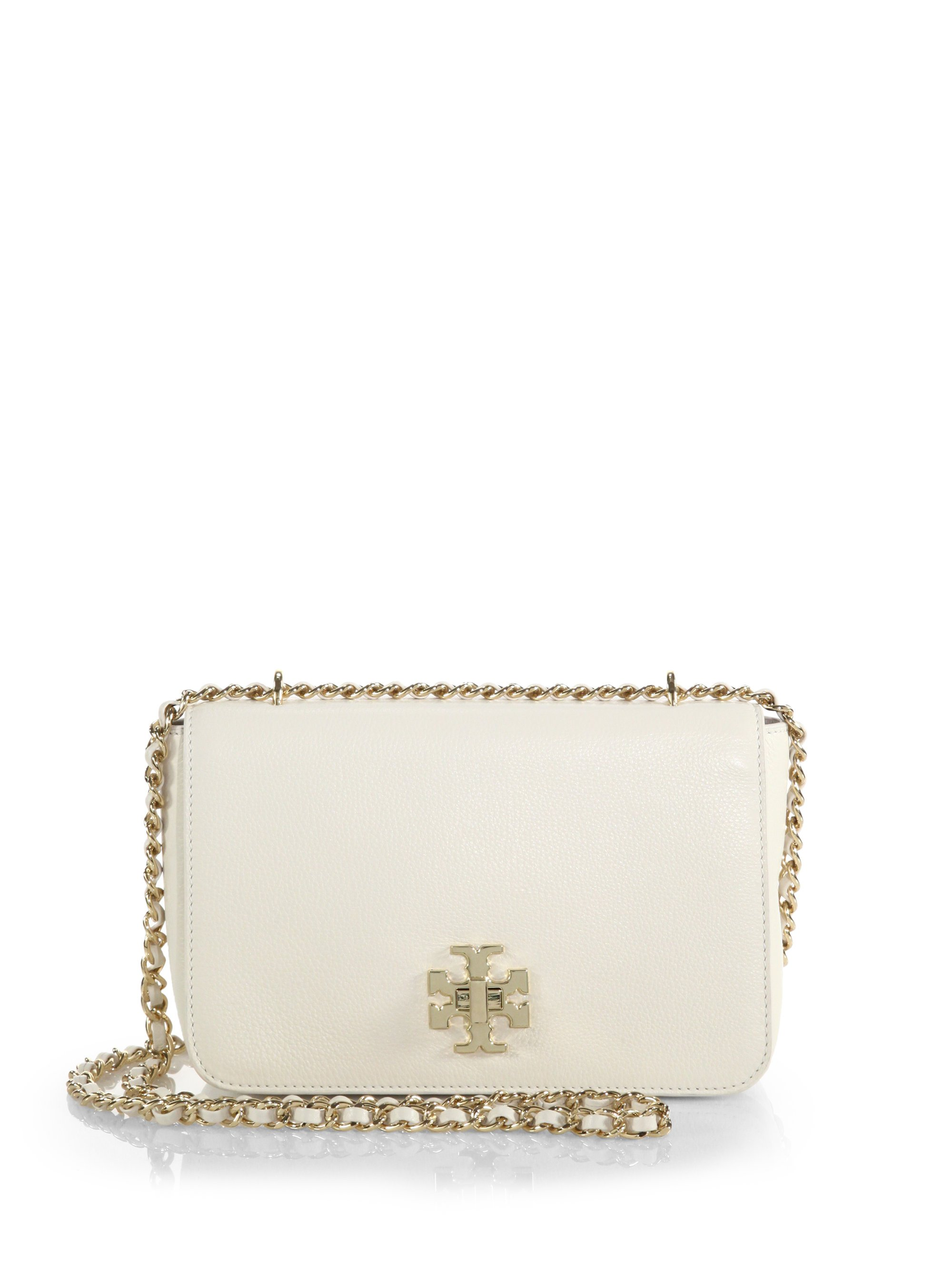 163ad1b58814 Lyst - Tory Burch Mercer Pebbled-leather Chain Shoulder Bag in White
