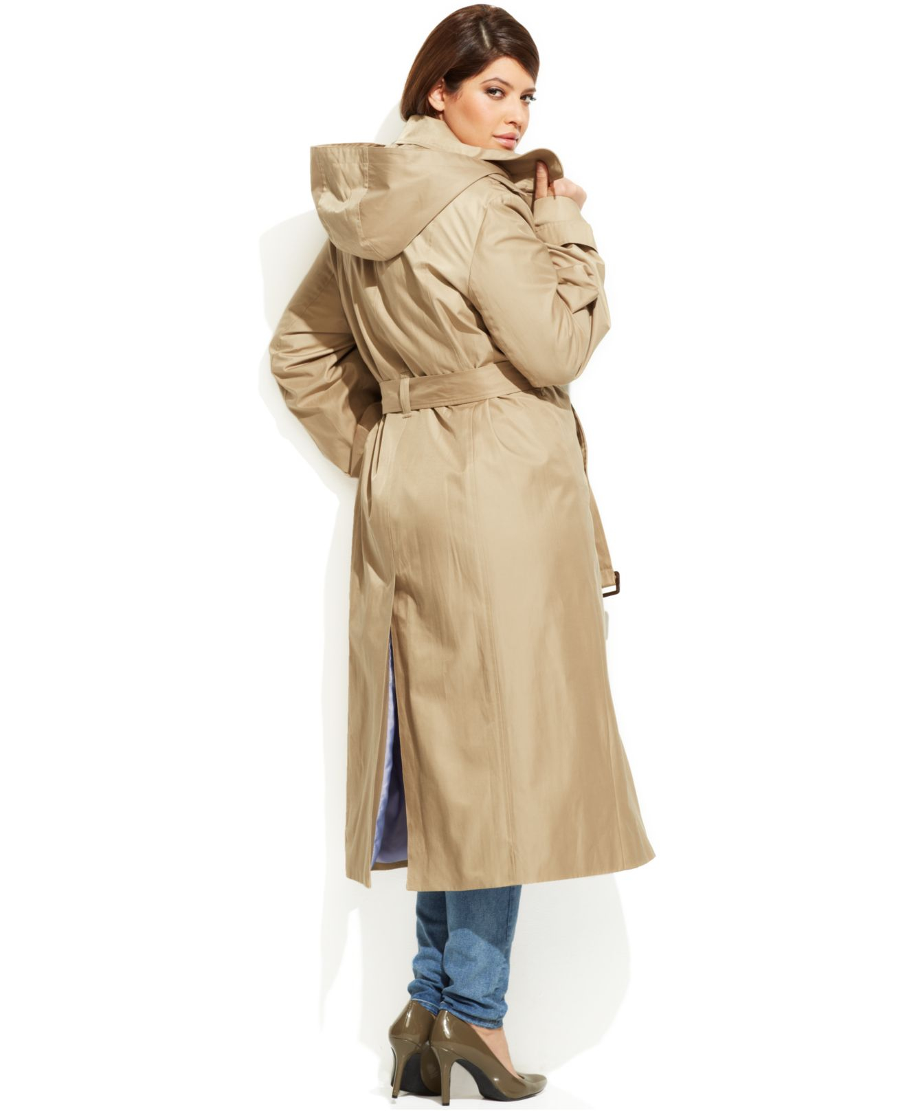 the best attitude 50-70%off new release Women's Natural Plus Size Hooded Belted Maxi Trench Coat