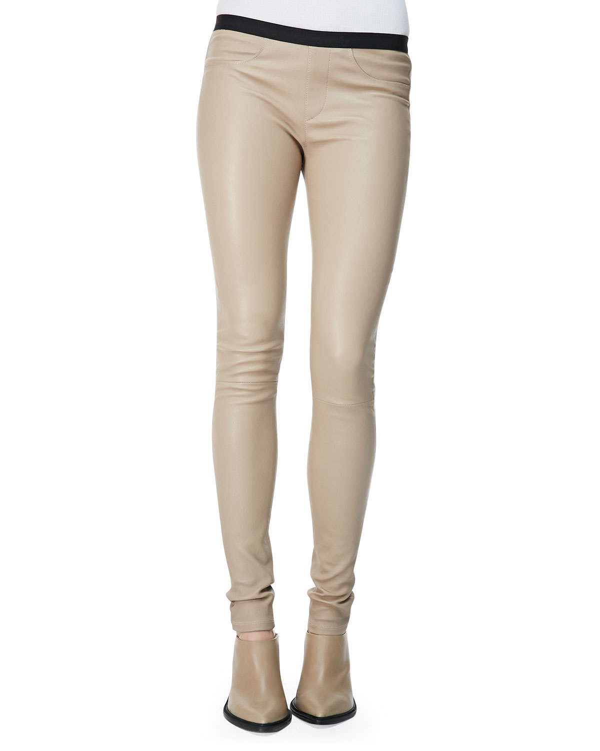 Helmut lang Contrast-Waist Leather Leggings in Natural | Lyst