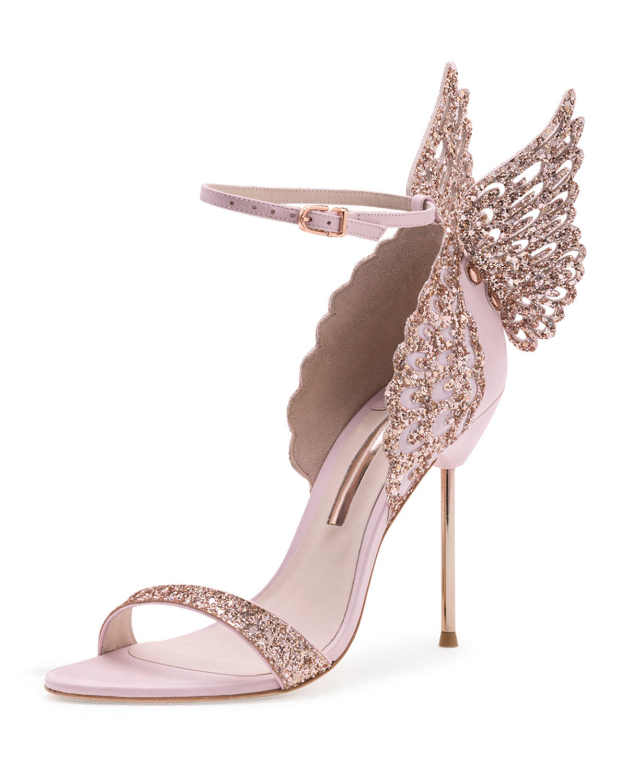 Sophia Webster Evangeline Glittered Butterfly Sandals In
