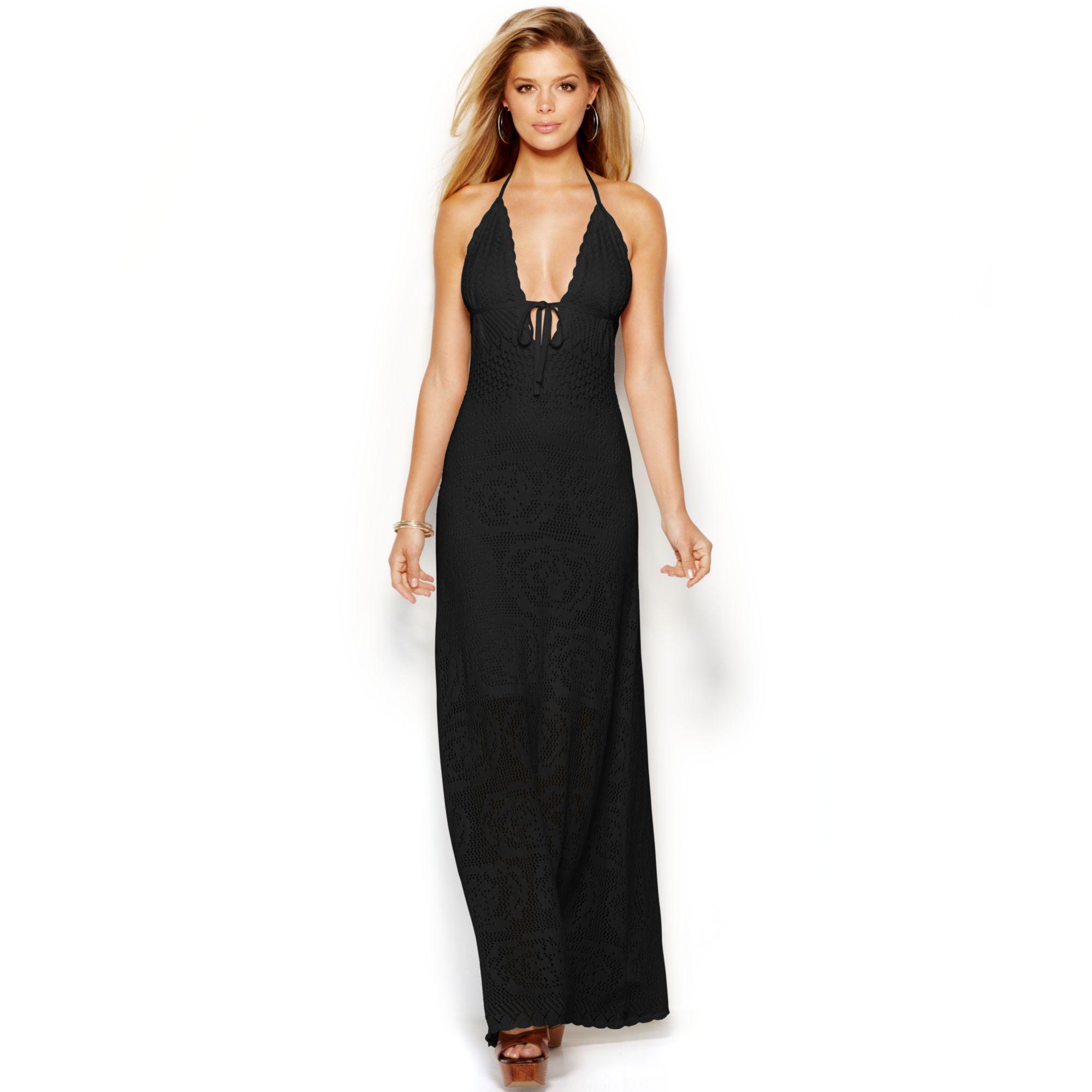 9829e4e9ffd9b Lyst - Guess Crochet Halter Maxi Dress in Black