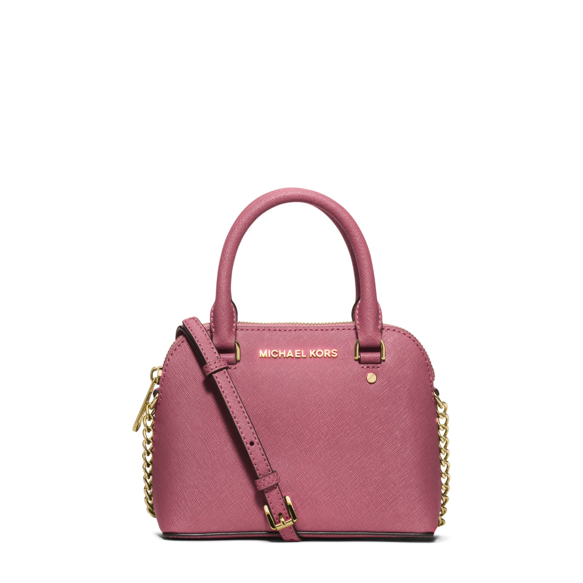 michael kors cindy extra small saffiano leather crossbody in pink tulip lyst. Black Bedroom Furniture Sets. Home Design Ideas