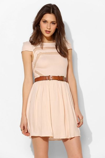 Ladakh Moondance Sheer Inset Fit Flare Dress In Pink