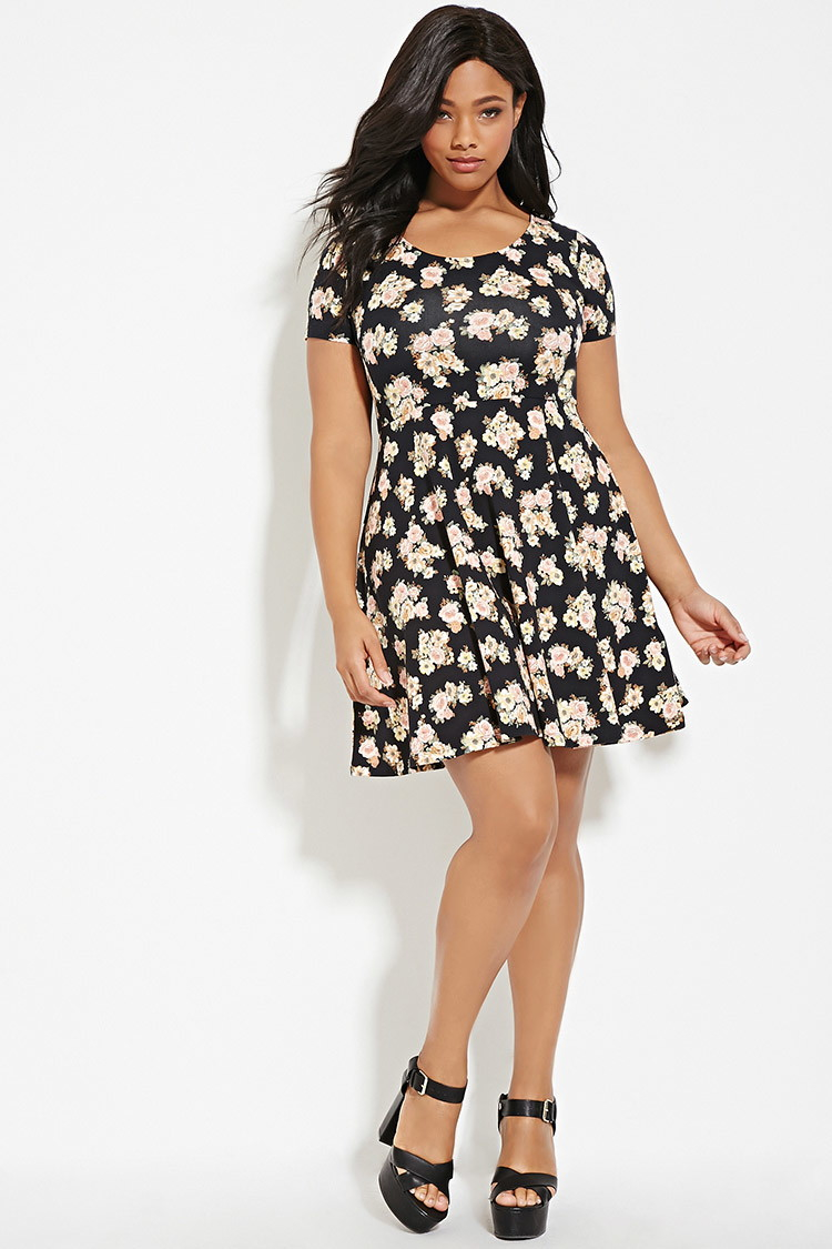 7b0b1354b38 Lyst - Forever 21 Plus Size Floral Print Dress in Black