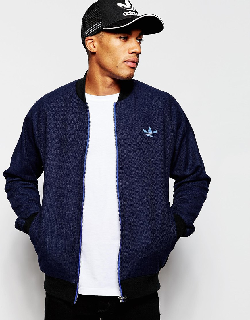 Adidas Originals Tweed Bomber Jacket Ab7640 In Blue For Men | Lyst