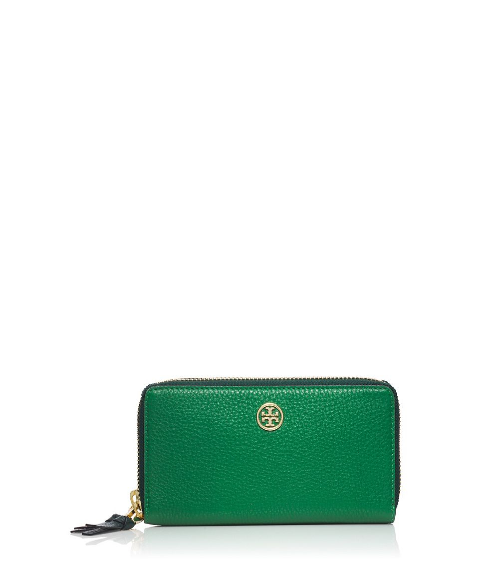 Tory Burch Robinson Pebbled Double Zip Continental Wallet