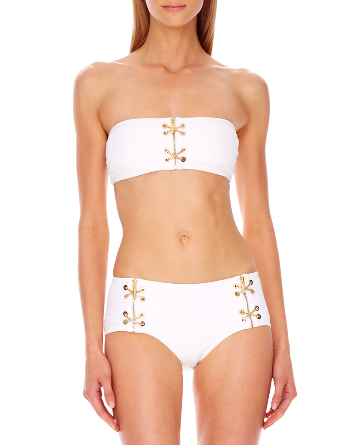 michael kors lace up bandeau bikini in white optic white lyst. Black Bedroom Furniture Sets. Home Design Ideas