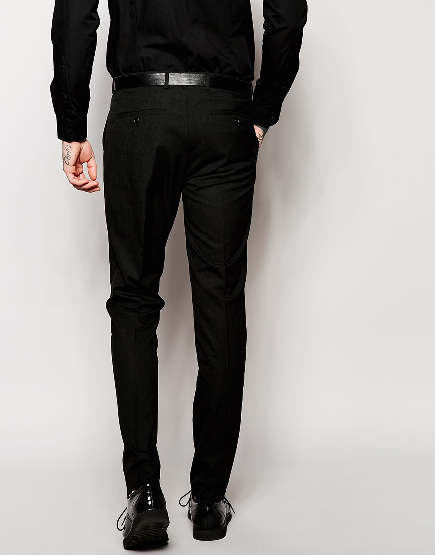 Asos Slim Fit Suit Trousers In Black Pindot in Black for Men | Lyst
