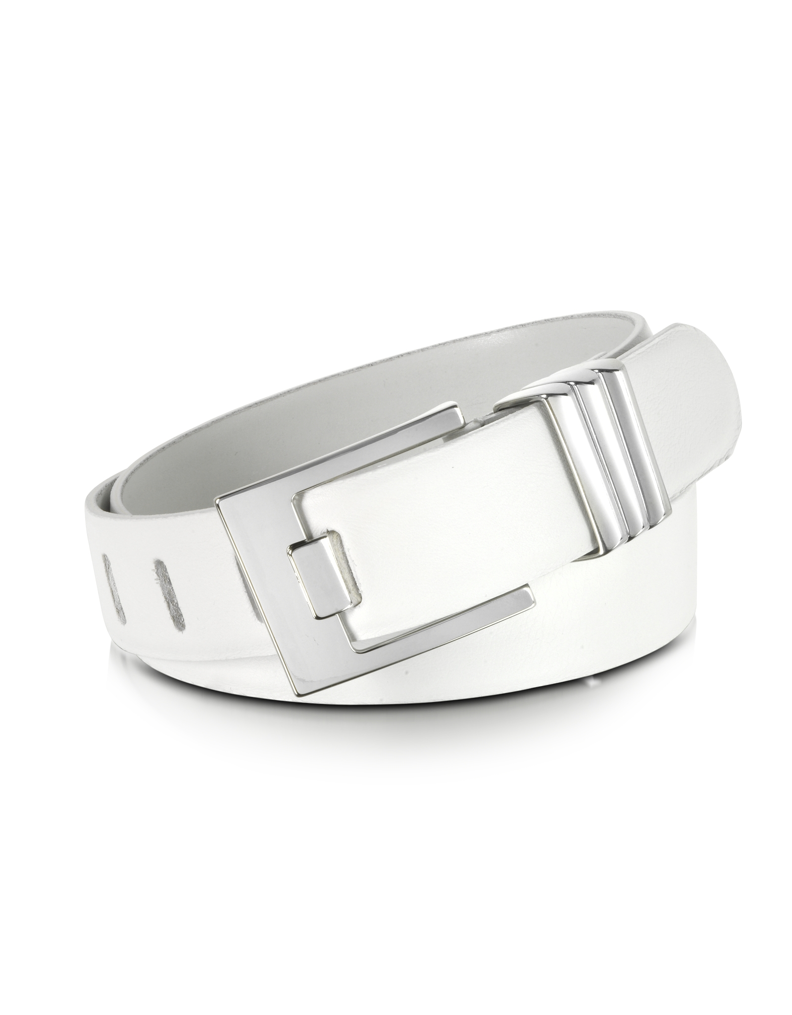 forzieri white leather belt in white lyst