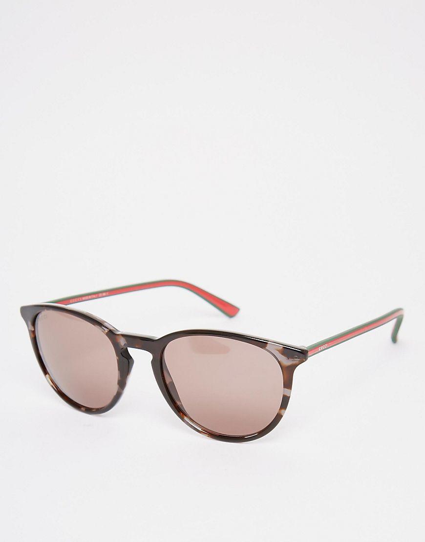 979da0cdc08 Lyst - Gucci Round Sunglasses In Tort in Brown for Men