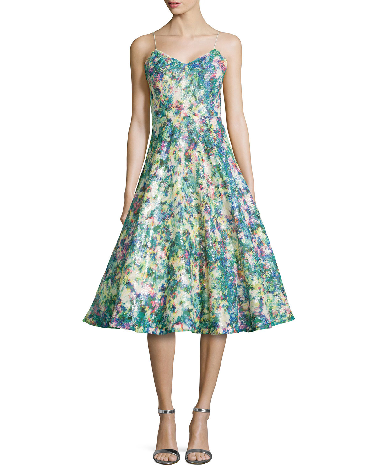 Tracy reese Sequined Floral-Print Full-Skirt Cocktail Dress | Lyst