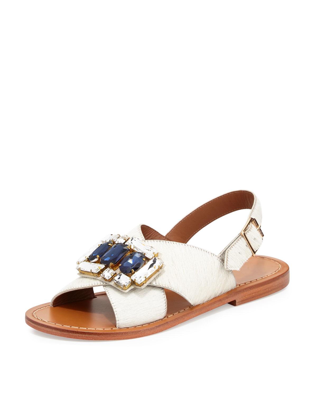 b423f290d Lyst - Marni Jeweled Calf Hair Sandals in Natural
