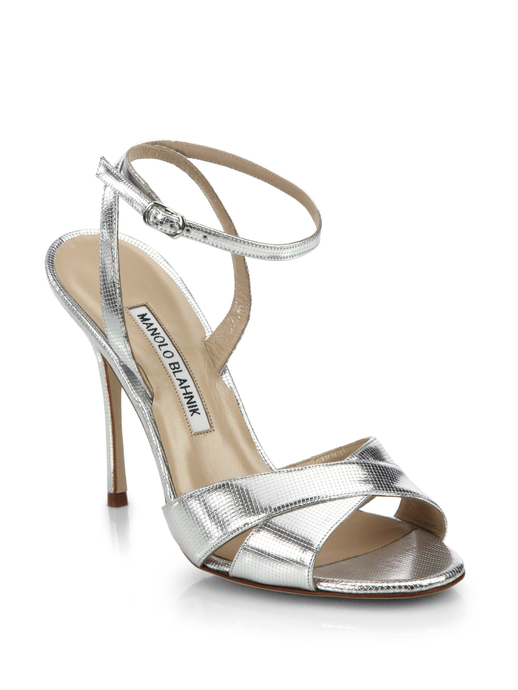 Manolo Blahnik Metallic Leather Sandals looking for sale online DWR7Kyz