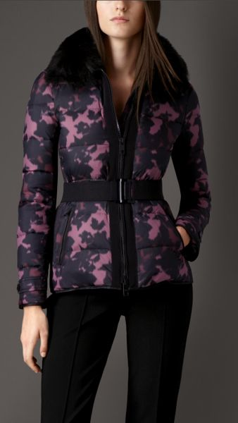Burberry Showerproof Puffer Jacket With Fox Fur Collar in ...