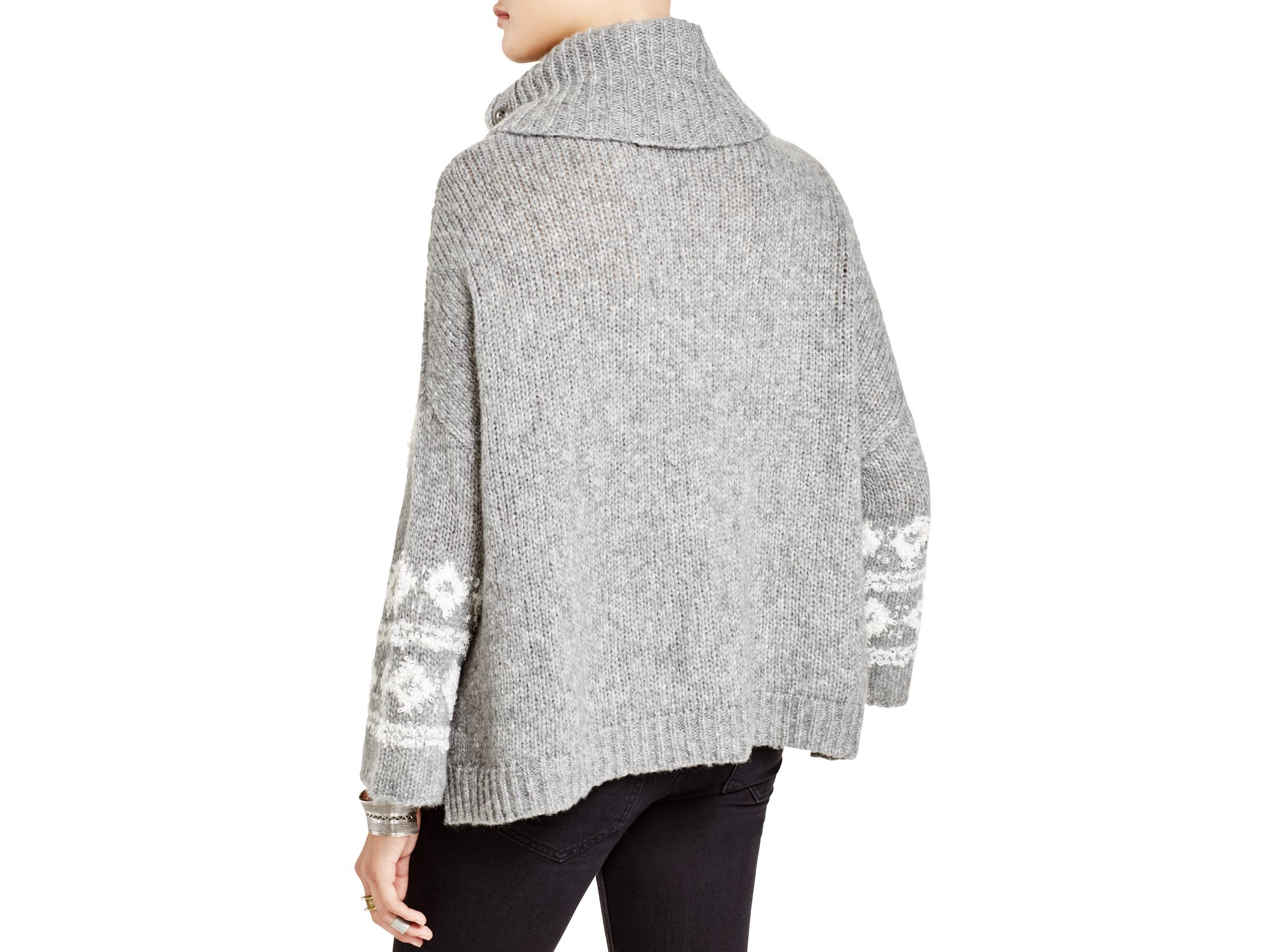 eb66193b7 Lyst - Free People Fair Isle Split Neck Sweater in Gray