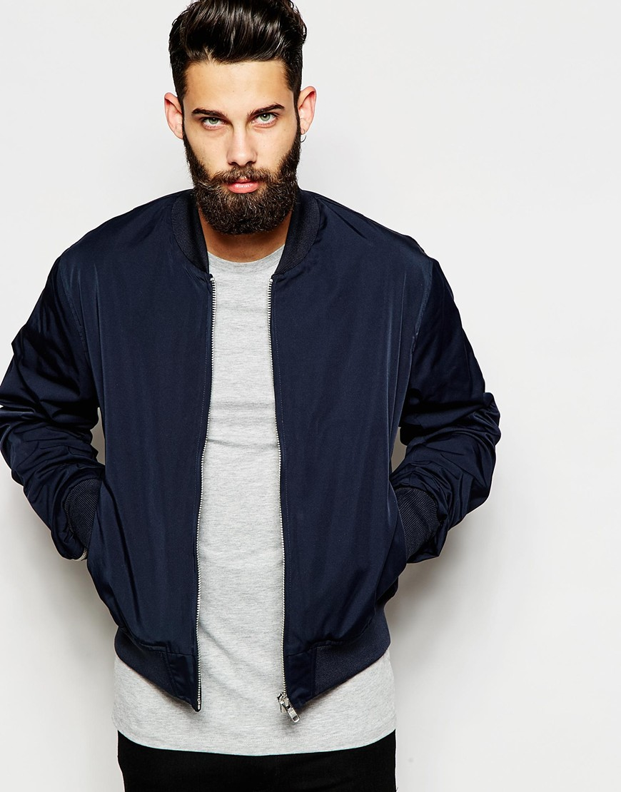 Asos Bomber Jacket With Zip Sleeve In Navy in Blue for Men | Lyst