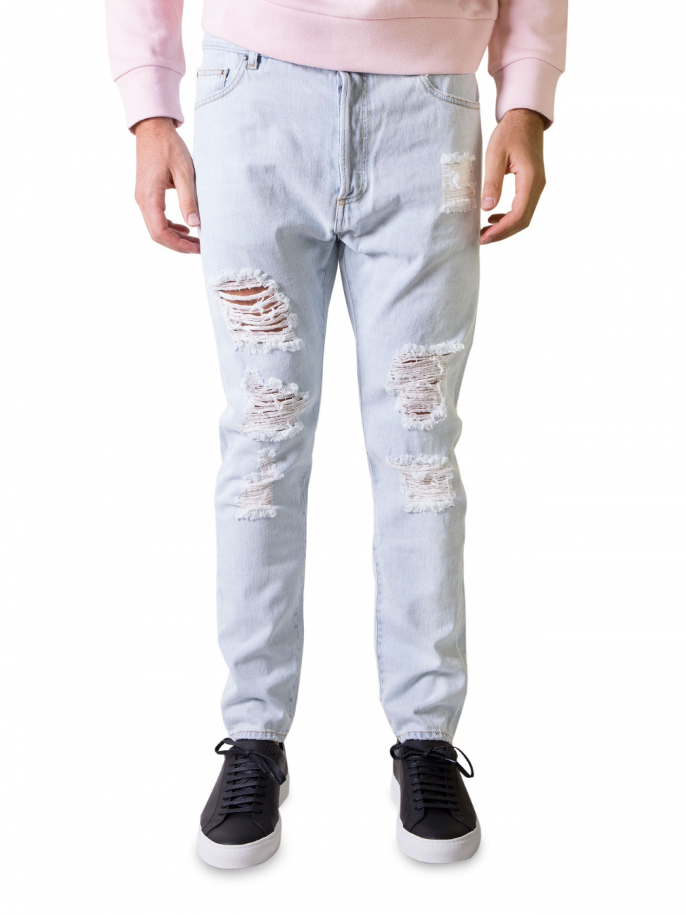 Palm angels Light Wash Denim Ripped Jeans in Blue for Men | Lyst
