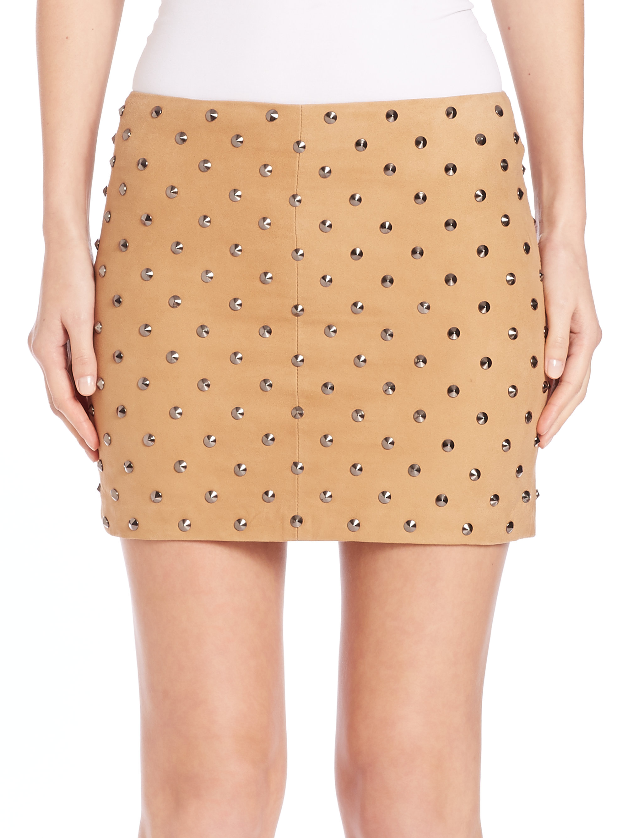 6242bf6318 Alice + Olivia Elana Studded Suede Skirt in Brown - Lyst