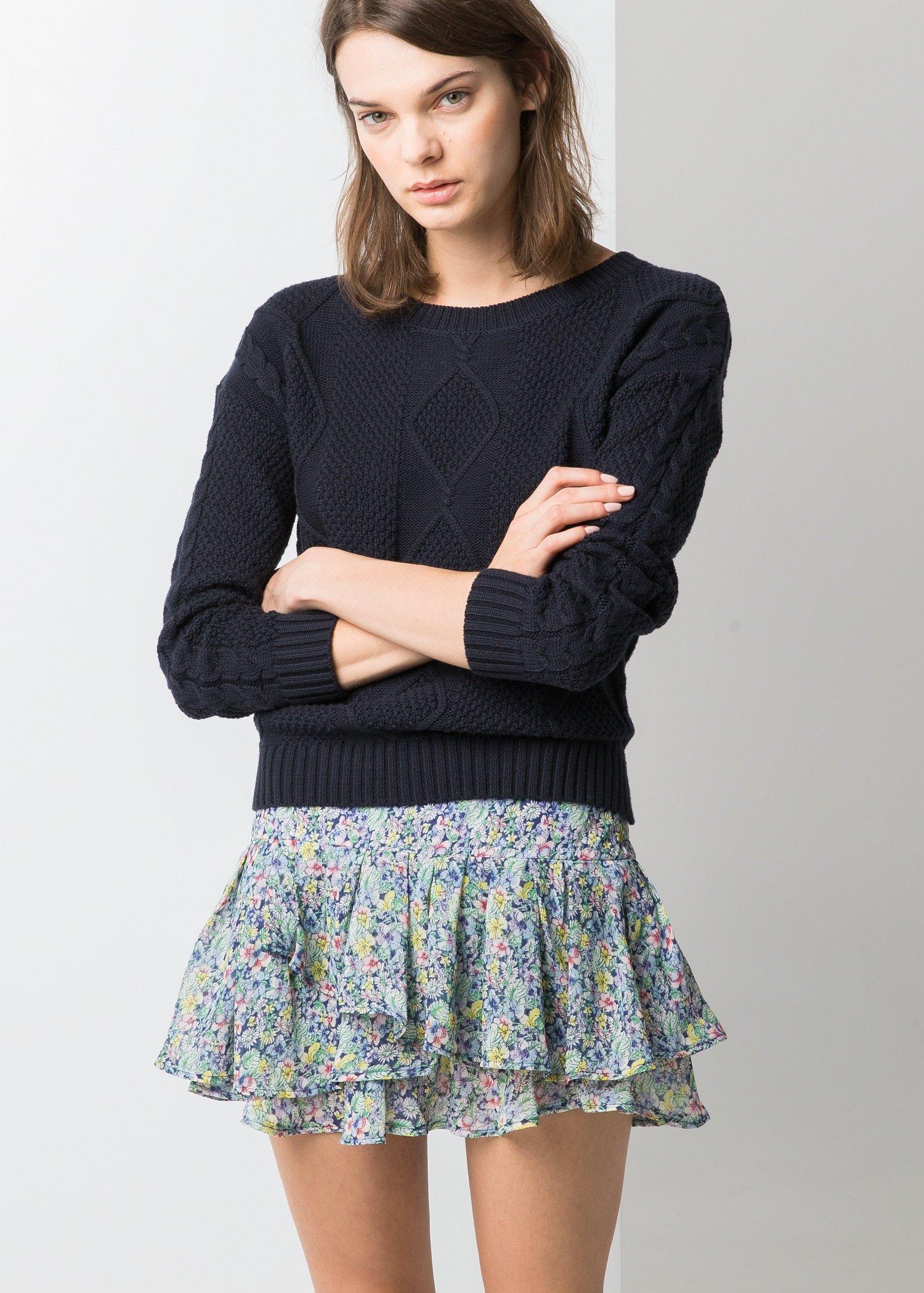 Mango Ruffled Floral Mini Skirt | Lyst