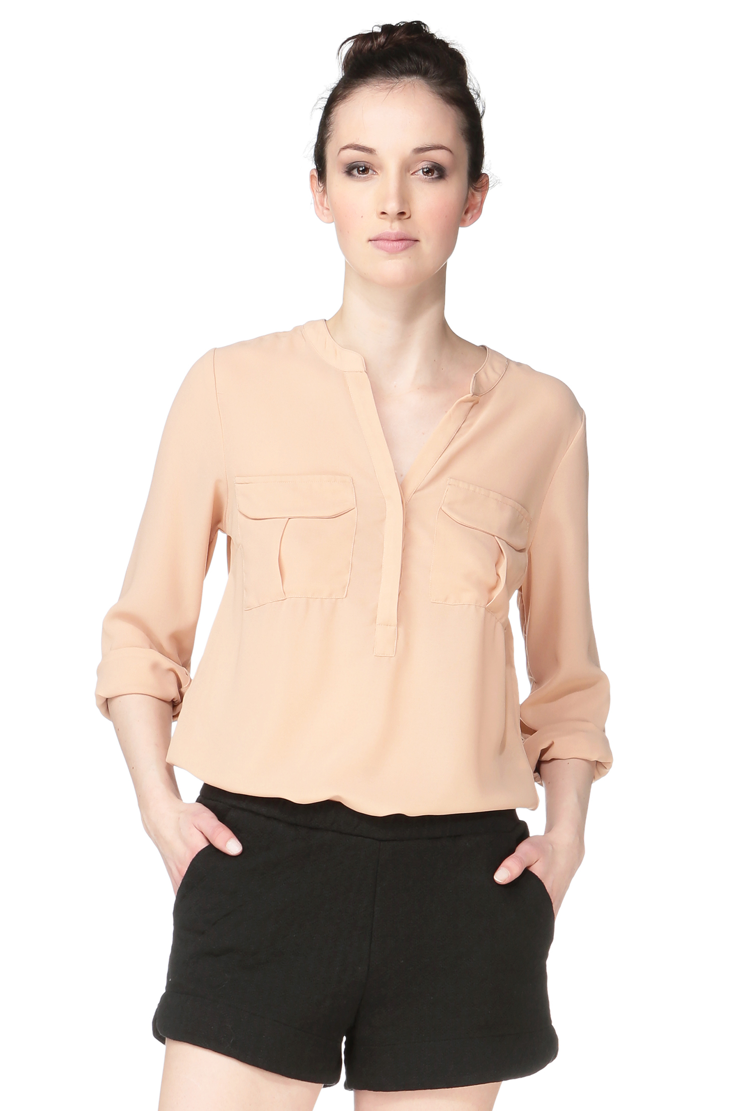 vero moda shirt blouse in natural lyst. Black Bedroom Furniture Sets. Home Design Ideas