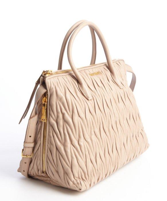 Miu miu Tan Quilted Leather Zip Detail Convertible Tote in Natural ... : miu miu quilted bag - Adamdwight.com
