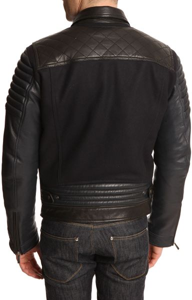 Just Cavalli Navy Dualfabric Wool And Leather Jacket In