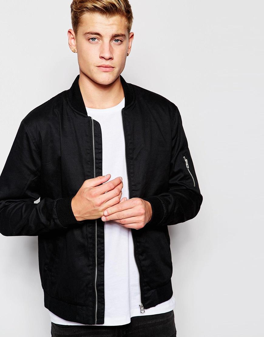 jack jones bomber jacket in black for men lyst. Black Bedroom Furniture Sets. Home Design Ideas
