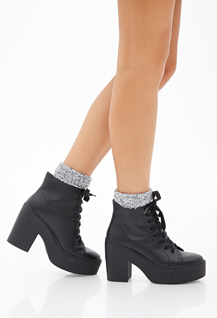 Women Lace-Up Side Zipper Platform High Heel Martin Ankle Booties Polish See more like this Toms Women's Sz W Gray Suede Platform Lace Up Desert Boots Short Booties Pre-Owned.