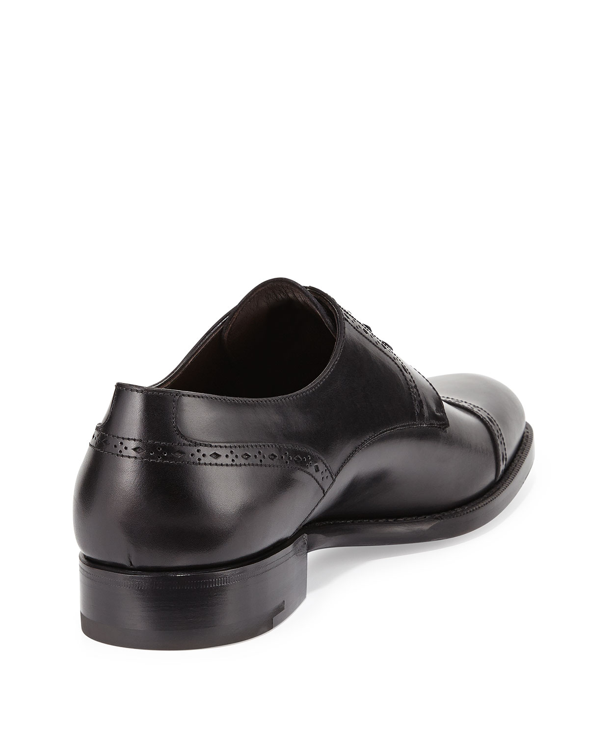 Ermenegildo Zegna Leather Cap-Toe Derby Shoe in Black for Men - Lyst