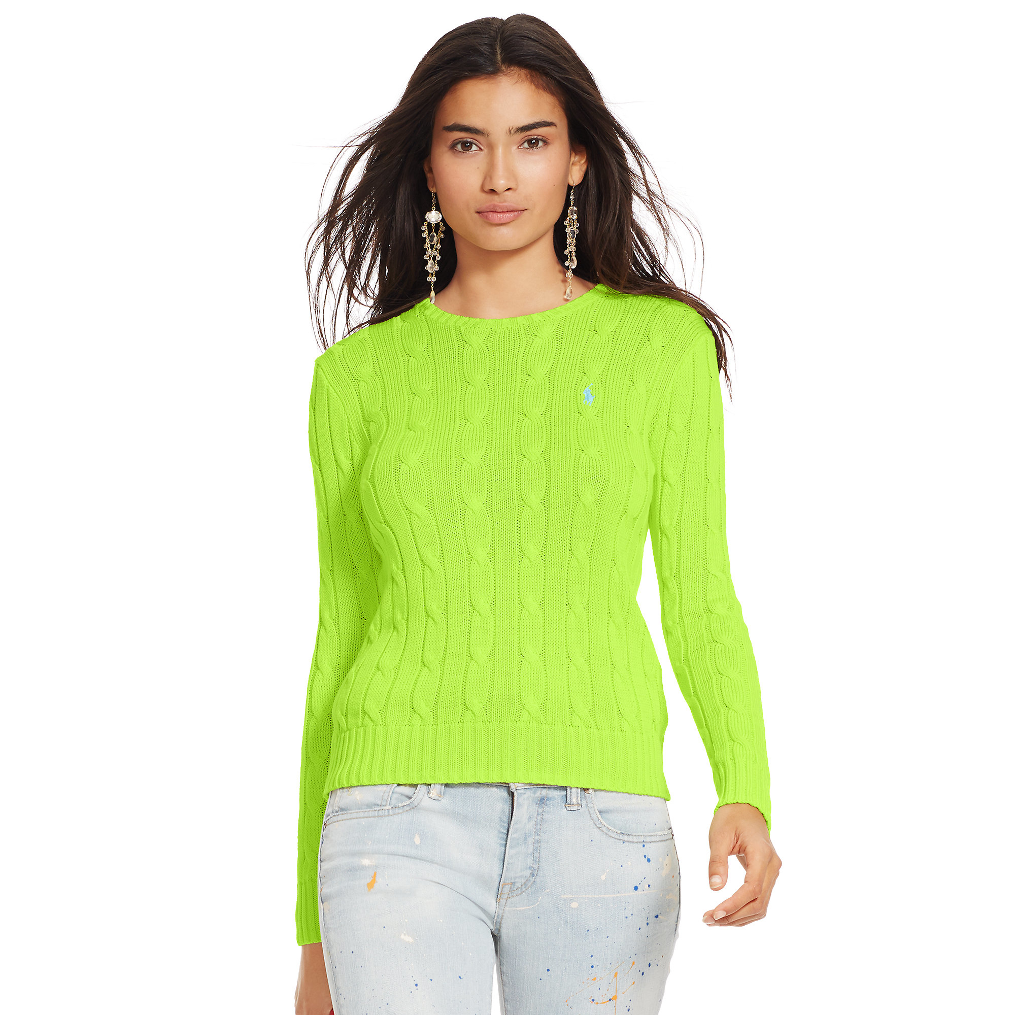 Polo ralph lauren Cable-knit Crewneck Sweater in Green | Lyst