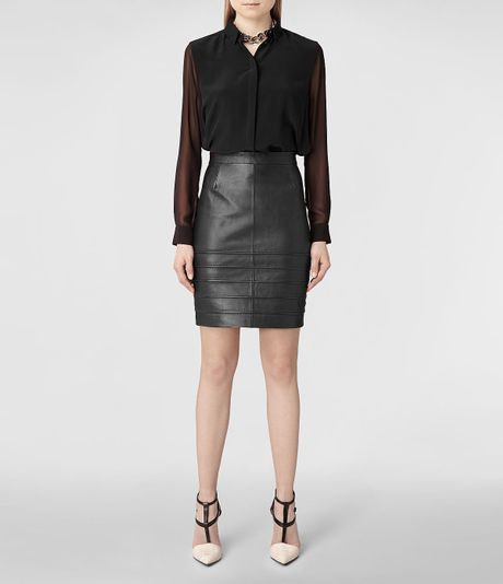 allsaints pipe leather pencil skirt in black lyst