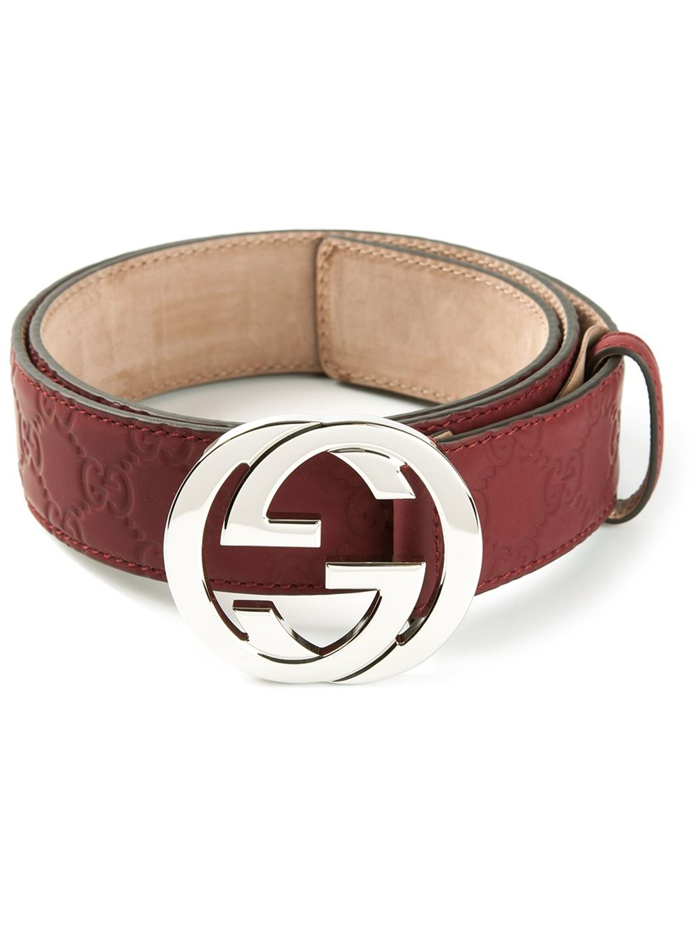Gucci Sima Embossed Belt in Red for Men | Lyst
