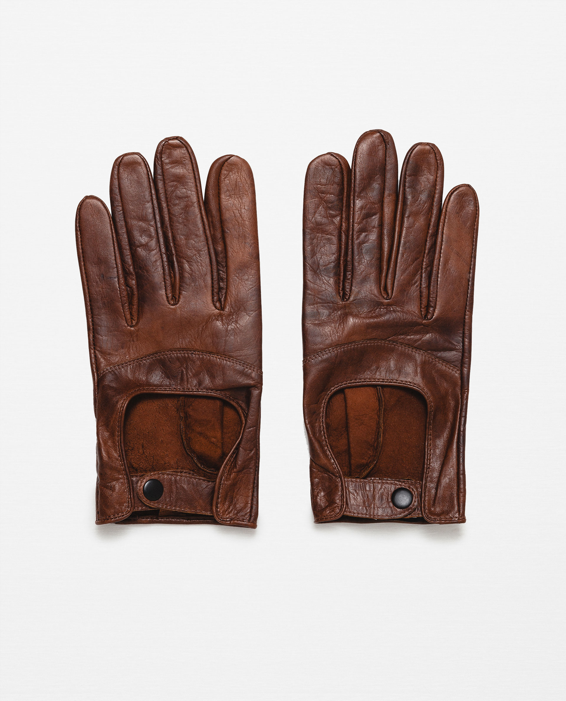 zara leather driving gloves in beige for men camel lyst. Black Bedroom Furniture Sets. Home Design Ideas