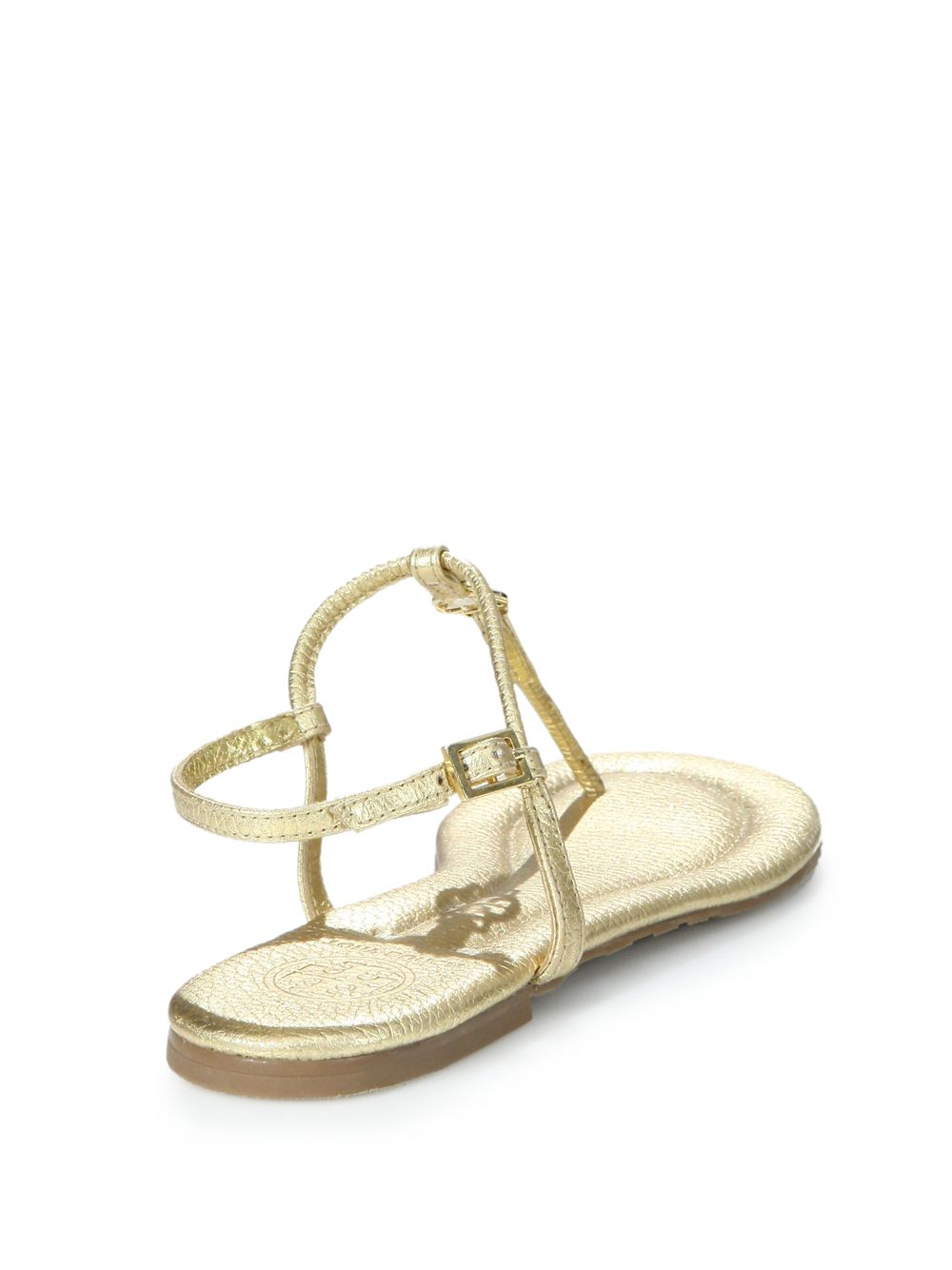 ed3f03999bdcb0 Lyst - Tory Burch Emmy Metallic Leather Logo Thong Sandals in Metallic