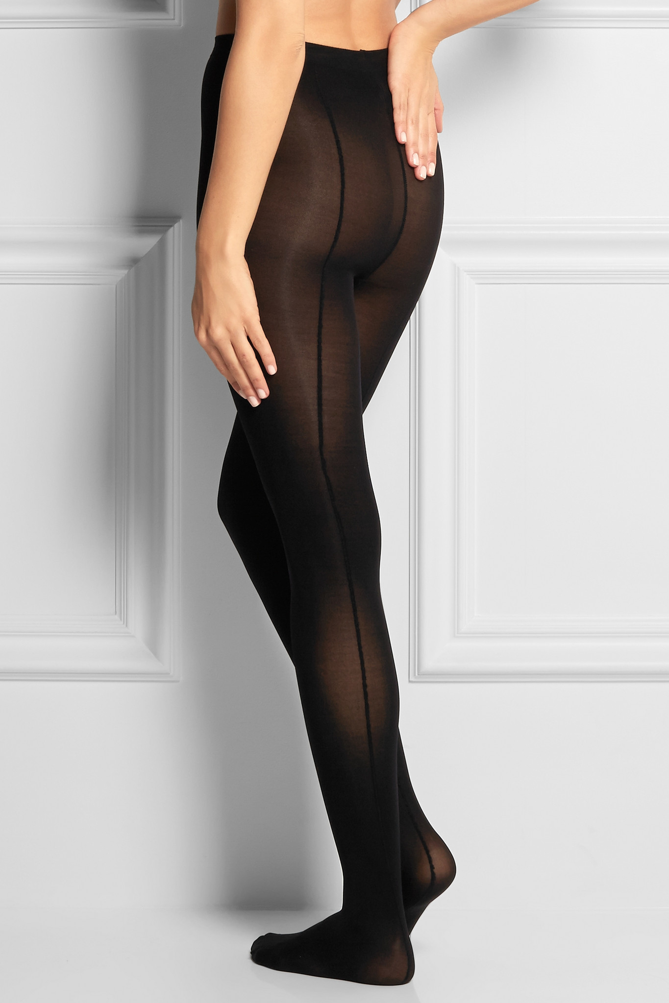 ballet beautiful set of two seamed tights in black   lyst
