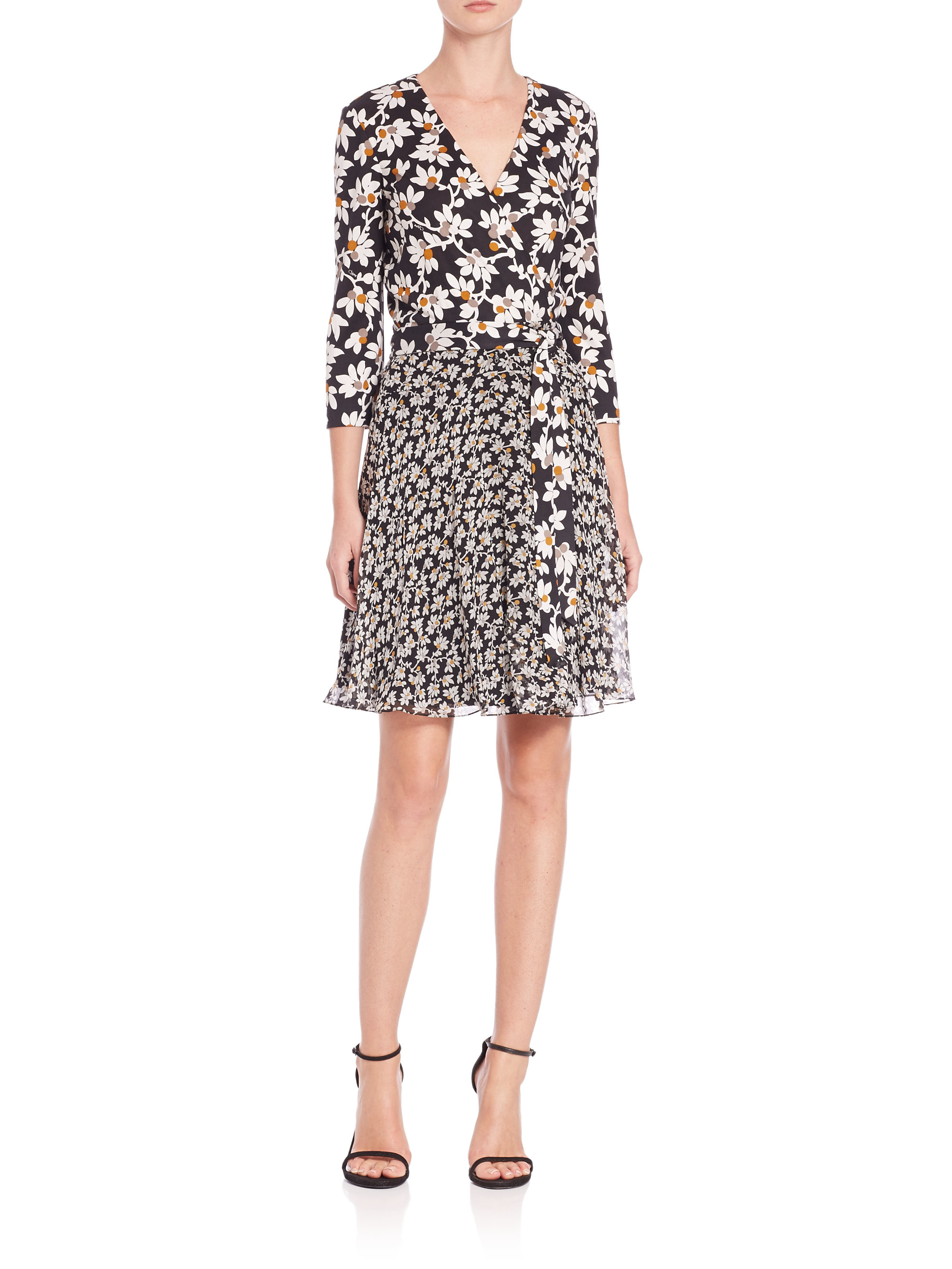 Lyst diane von furstenberg irina printed silk wrap dress for Diane von furstenberg clothes