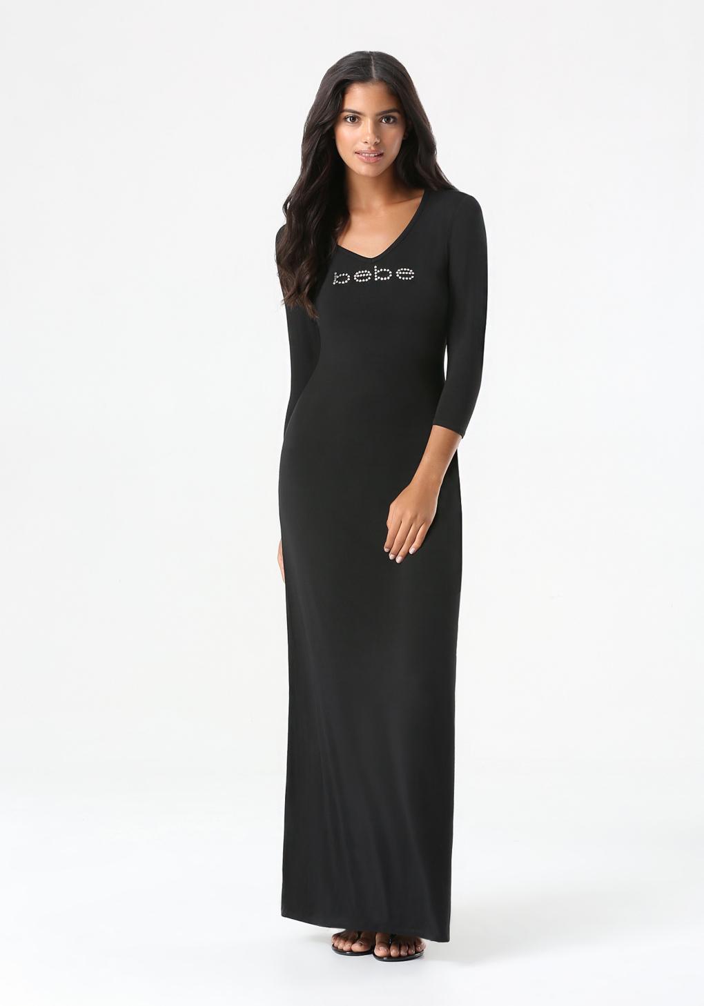 Bebe Logo Crochet Maxi Dress In Black Lyst