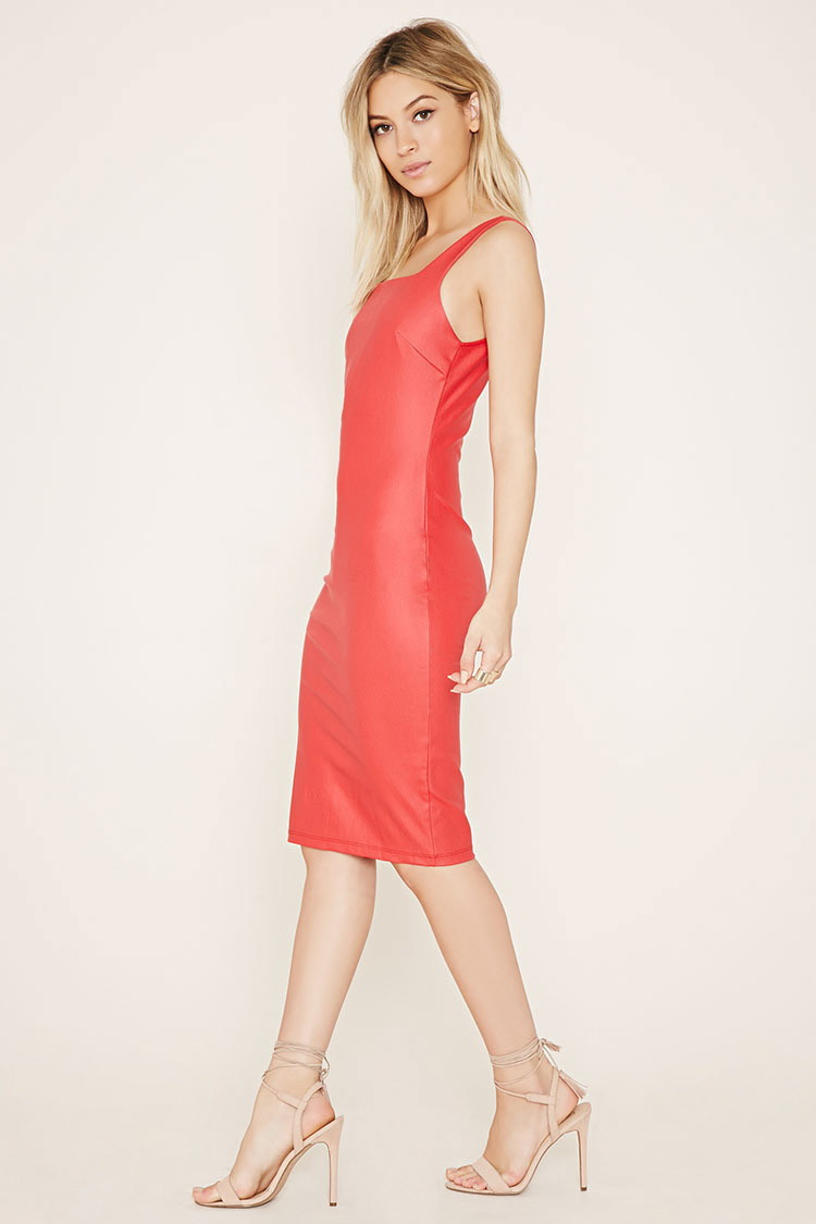 Forever 21 Faux Leather Bodycon Dress in Red | Lyst