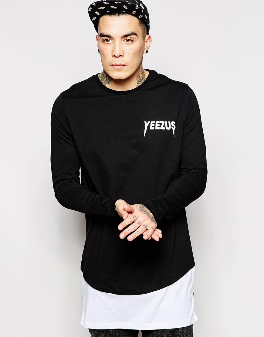 ac8fbf48147b ASOS Super Longline Long Sleeve T-shirt With Yeezus Print And Side ...