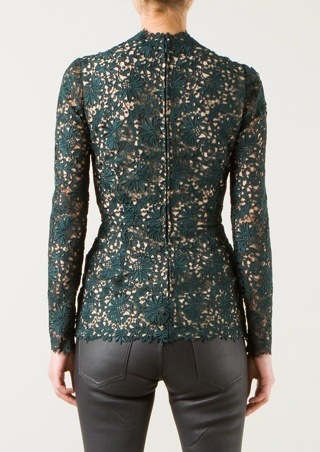 Stella mccartney Green Lace Top in Green | Lyst