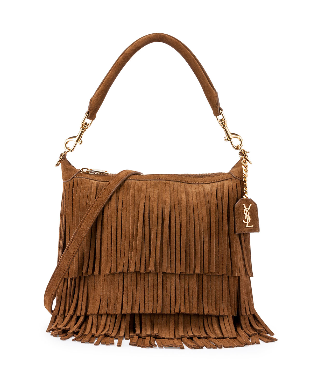 ysl clutch silver - Saint laurent Emmanuelle Small Suede Fringe Hobo Bag in Multicolor ...